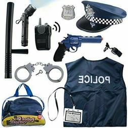 12 Pcs Police Costume For Kids With Toy Role Play Kit With B