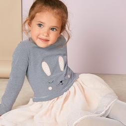 Little maven 2-7Years Rabbit Tulle <font><b>Dress</b></font>