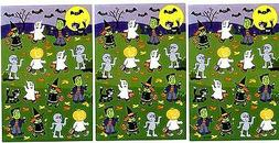 3 Sheets Halloween Trick or Treat KIDS in Costumes Bats Scra