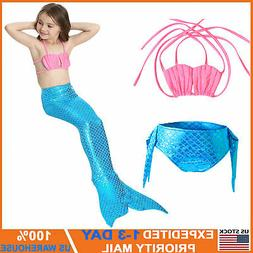 3pcs Kid Girls Mermaid Swimsuit Tail Costume Summer Swimwear