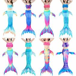 3Pcs Kids Girls Swimmable Mermaid Tail Bikini Swimsuit Set S
