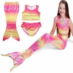 3pcs Set Kids Baby Girls Mermaid Tail Swimmable Swimwear Bik