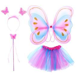 4Pcs Kids Baby Girls Fairy Costume Set Headband Butterfly Wi
