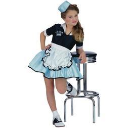 50s Girl Costume Kids Car Hop Waitress Halloween Fancy Dress