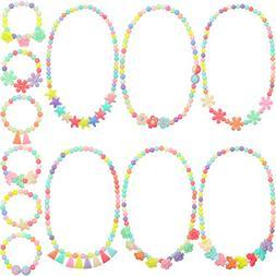 Bememo 6 Sets of Princess Necklace Bracelet Kids Play Jewelr