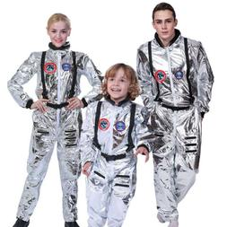 Adult Astronaut Jumpsuit Costume Cosplay Space Suit Silver S