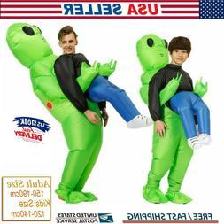 Adult Kids Inflatable Green Alien Costume Funny Halloween Co