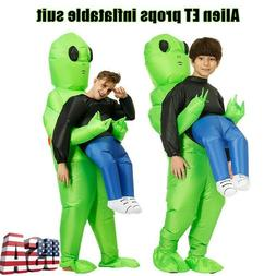 adult kids inflatable green alien costume funny