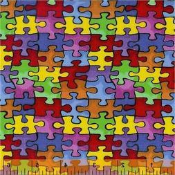 Autism Fabric, BTY,  Autism Awareness, 19596, Puzzle Fabric,