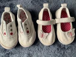 Koala Kids Baby Girl Shoes Lot Size 4 White Velcrove Eyelet