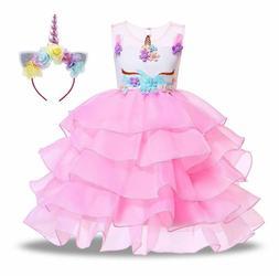 Kabety Baby Girl Unicorn Costume Pageant Flower Princess Par