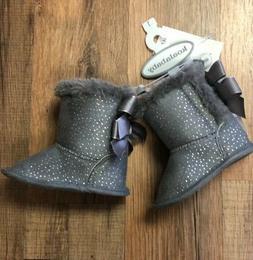 Koala Kids Baby Infant Girl Fur Soft Sole Boots Grey & Silve