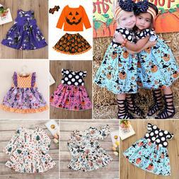 Baby Kids Girls Halloween Costume Pumpkin Skull Fancy Dress