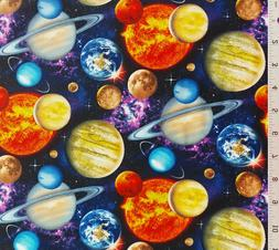 Black Packed Planets Solar System Galaxy Cotton Quilt Fabric