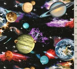 Black Space Planets Solar System Galaxy Cotton Quilt Fabric