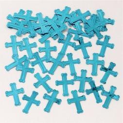 blue embossed crosses confetti decoration religious party
