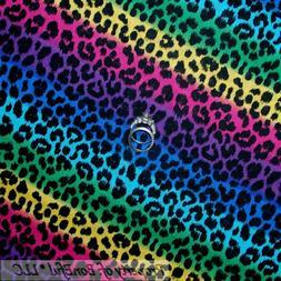 BonEful Fabric FQ Cotton Quilt Rainbow Black Red Pink Wild L