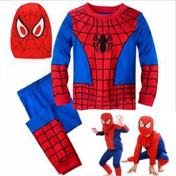 new boys 3pcs spiderman fancy dress outfits