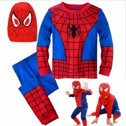 Kids Boys 3Pcs Set Spiderman Fancy Dress Outfits Cosplay Par