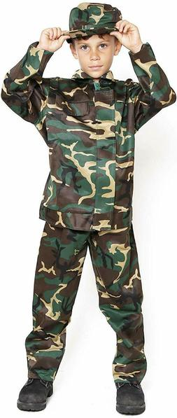 Boys Kids Child Camo Army Military Soldier Costumes Uniform