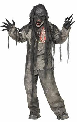 Burning Dead Zombie Costume for Kids size 8-10 & 12-14 New b