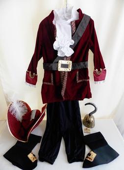 Disney Store CAPTAIN HOOK Costume XS 4 HAT Child Boys Hallow
