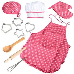Acekid Chef Set for Kids,11pcs Kitchen Costume Role Play Kit