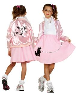 CHILD PINK LADIES LADY JACKET 50S 50'S SATIN GREASE COSTUME