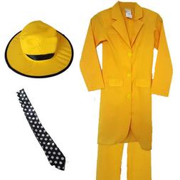CHILDRENS KIDS BOYS YELLOW SUIT HAT TIE HALLOWEEN FANCY DRES