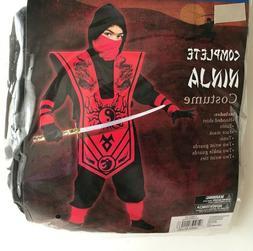 Complete Ninja Costume Red Black Fun World Child Boys Size 8
