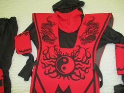 Complete Ninja Costume Red Black Fun World Child Boys SIze M