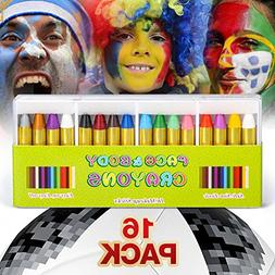 JamBer 16 Pack Face Painting Crayons Bright Colors Dress Up