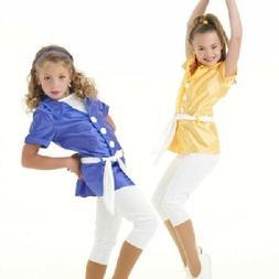 Dancin In Style Dance Costume BLUE Tunic Top WHITE Capri Pan