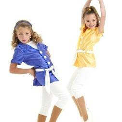 Dancin In Style Dance Costume GOLD Tunic Top WHITE Capri Pan