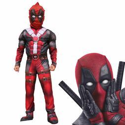 Deluxe Boys Marvel Deadpool Muscle Kids Halloween Party Cost