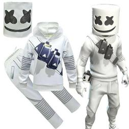 DJ Marshmallow Cosplay Costume Kids Hoodie + Pants Mask Fanc
