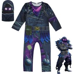 Fortnite RAVEN Cosplay Costume Halloween Fancy Dress Kids Ju