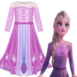Frozen 2 Elsa Dress Kids Girls Dresses Costume Party Cosplay
