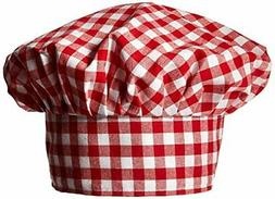 Gingham Fabric Chef's Hat  Party Accessory