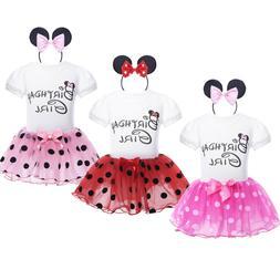 Girls Baby Kids Minnie Mouse Birthday Party Tutu Dress +Head