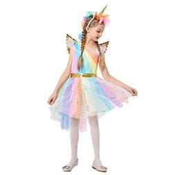 BESTOYARD Girls Christmas Dress Colorful Unicorn Baby Hallow