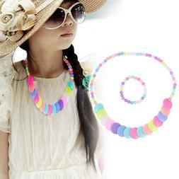 BESTOYARD Girls Flower Necklace Bracelet Princess Children J
