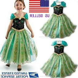 Girls Green Princess Anna Dress Fancy Costume Baby Party Kid