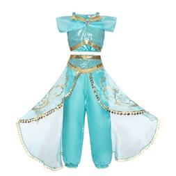 Girls Jasmine Costumes Children's Dress Cosplay Costume Kids