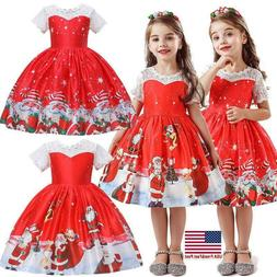 Girls Kids Christmas Print Swing Dress Santa Xmas Party Cost