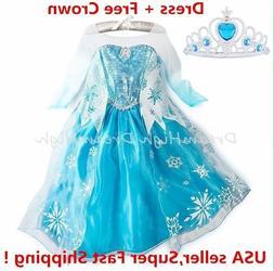 Girls Kids Dress  Elsa Anna Party costume Princess +  Free C