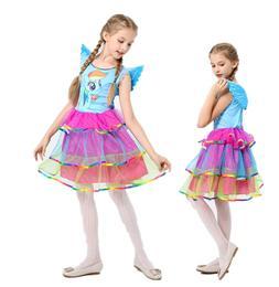 Girls Kids  My Little Pony Rainbow Tutu Dress + Wing Set Kid