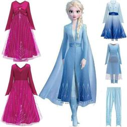 Girls Kids Queen Elsa Cosplay Costume Party Fancy Dresses Pa
