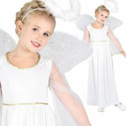 Girls Kids White Nativity Angel Xmas Christmas Fairy Fancy D