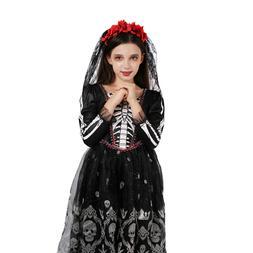 Girls Skeleton Costume Kids Halloween Fancy Dress Day Of The
